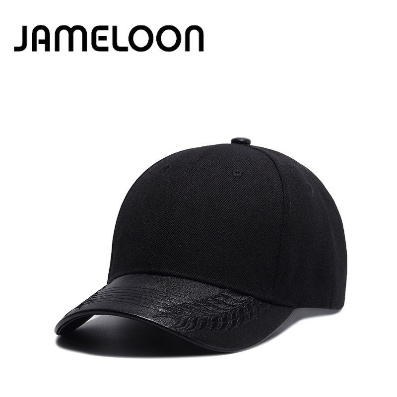1e8310d4323140 JAMELOON Summer Fashion Black Baseball Cap PU Birm Hat for Girl ...