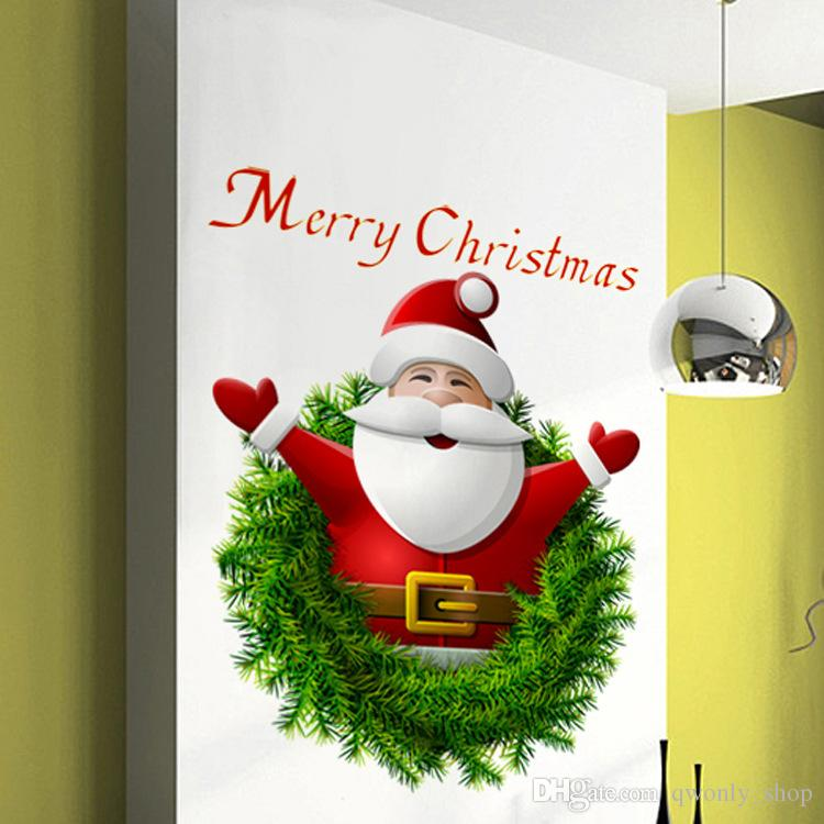 2018 Claus Reindeer Mural 3D Window Wall Sticker Christmas Wall Decal Art Home Decoration Window Decoring Removable Decor