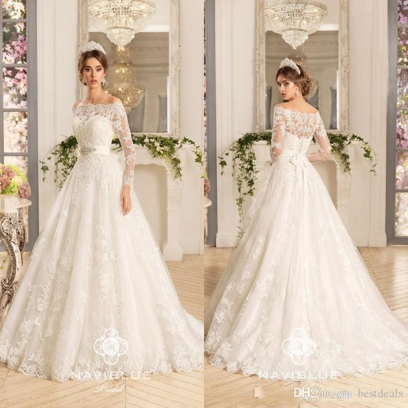 Discount Vintage Lace Long Sleeve Wedding Dresses 2017 Ball Gown Off ...