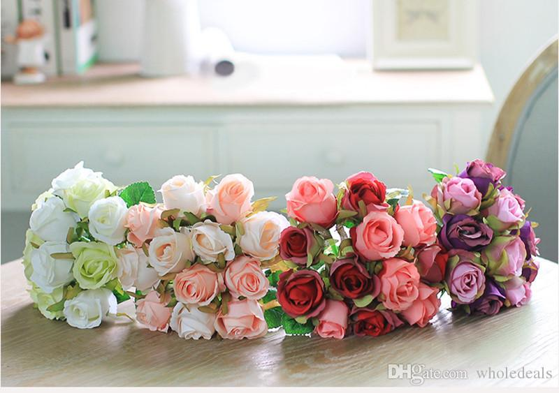 Artificial Rose Flowers Wedding bouquet White Pink Thai Royal Rose Silk flowers Home Decoration Wedding Party Decor