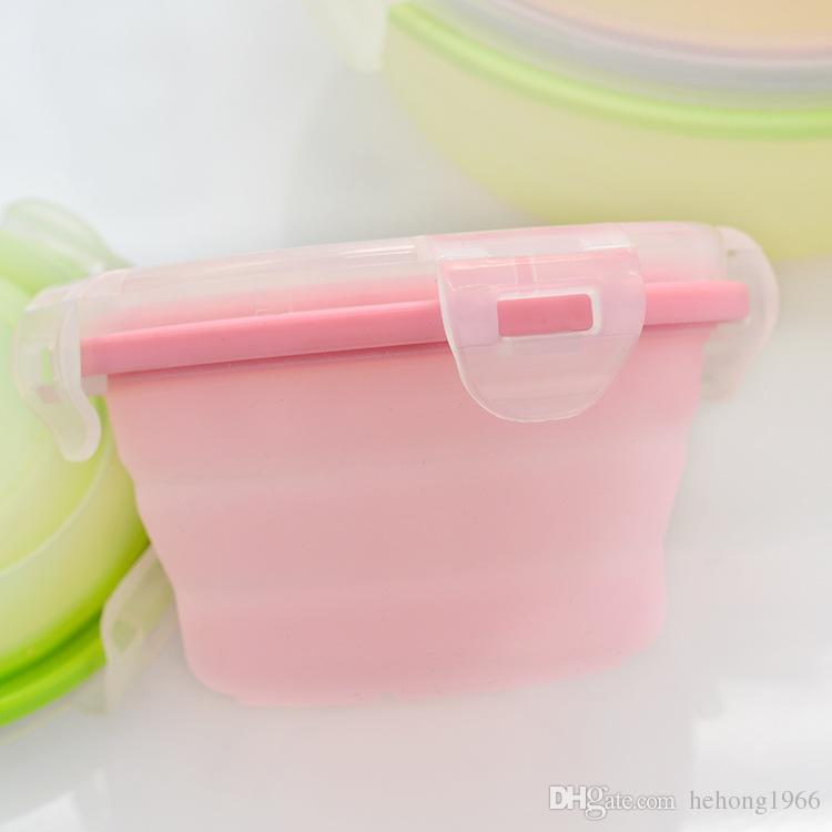 Round Silicone Lunch Boxes Multi Function Portable Food Crisper Various Sizes Foldable Container Safety Hot Sell 14 6sy3 R