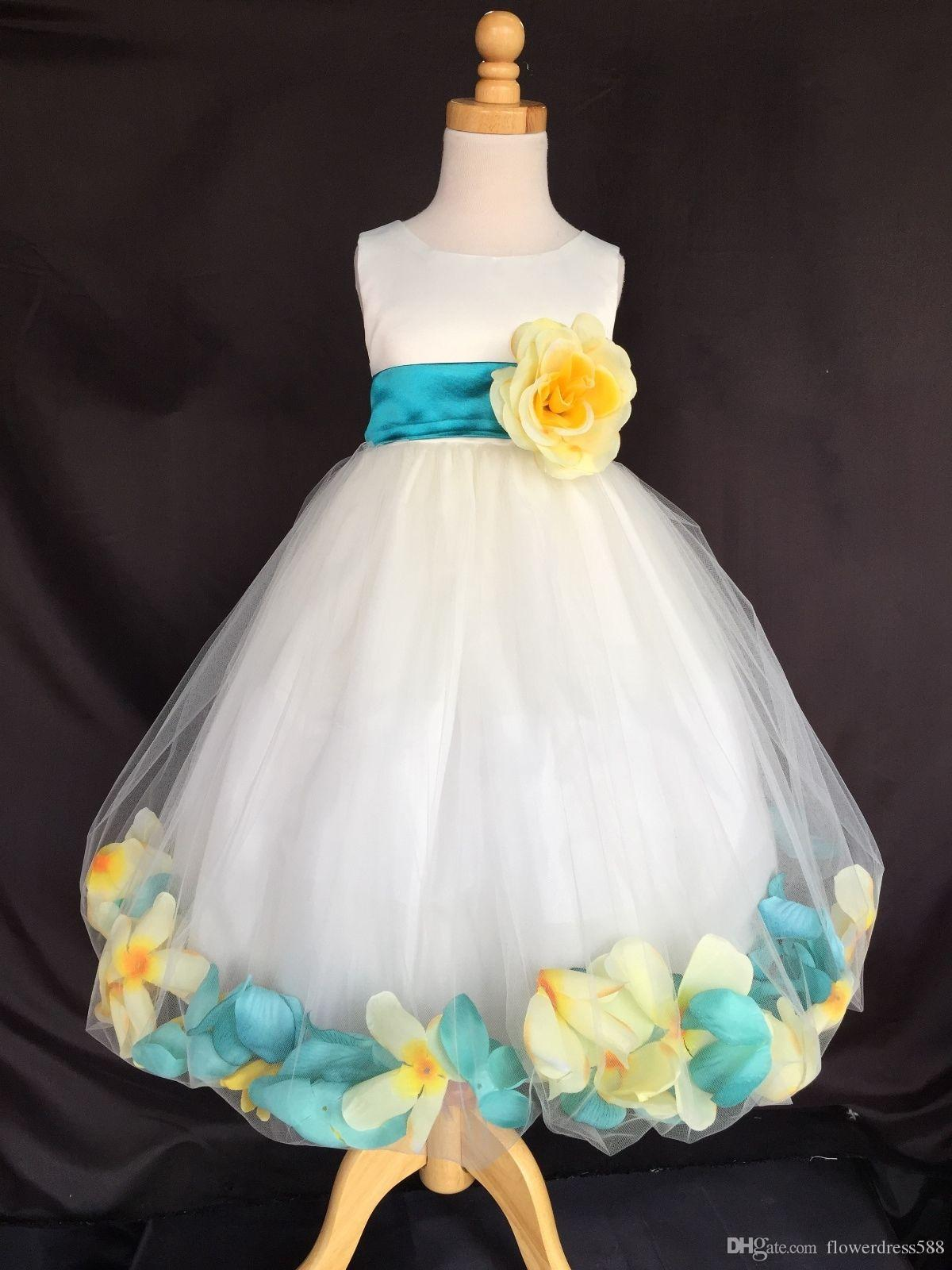 Flower Girl Bridesmaids Easter Canary Yellow Teal Petals Ivory Dress
