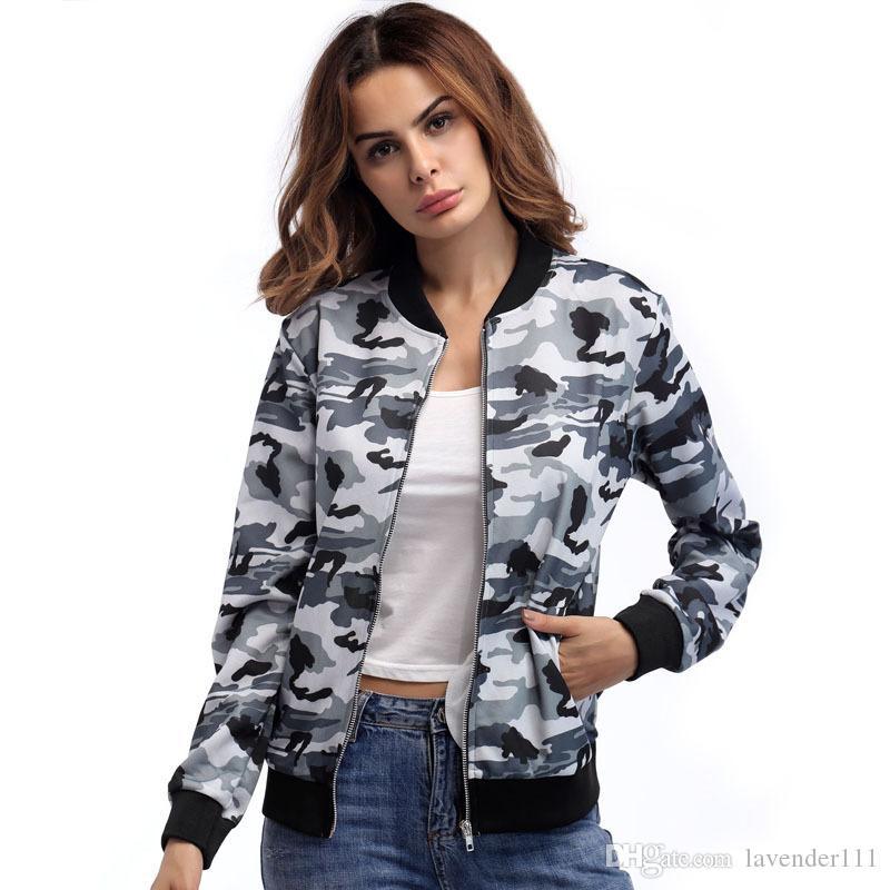 best service aab07 17cfc Giacca moda Donna Autunno Inverno Camouflage Giubbotto bomber Donna Zipper  di alta qualità Giacche casual Cappotti Plus Size