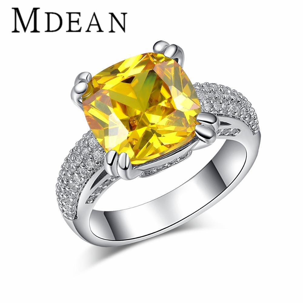 Best Mdean White Gold Plated Big Yellow Stone Rings For Women Cz