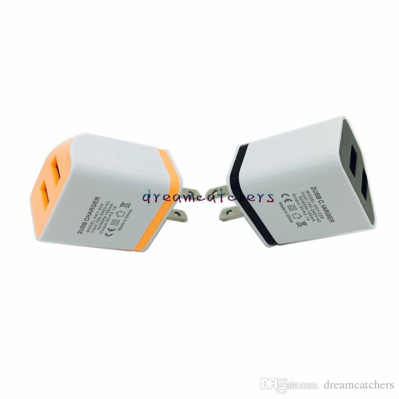 الولايات المتحدة الجديدة المزدوجة USB محول التيار المتردد الجدار شاحن السفر محول كامل 5V 2A العالمي لفون سامسونج الهاتف المحمول HTC