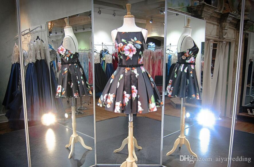 Little Black Short Prom Dresses Spaghetti Straps High Neck Knee Length A-Line Skirt Floral Printed Satin Pleats Homecoming Cocktail Party