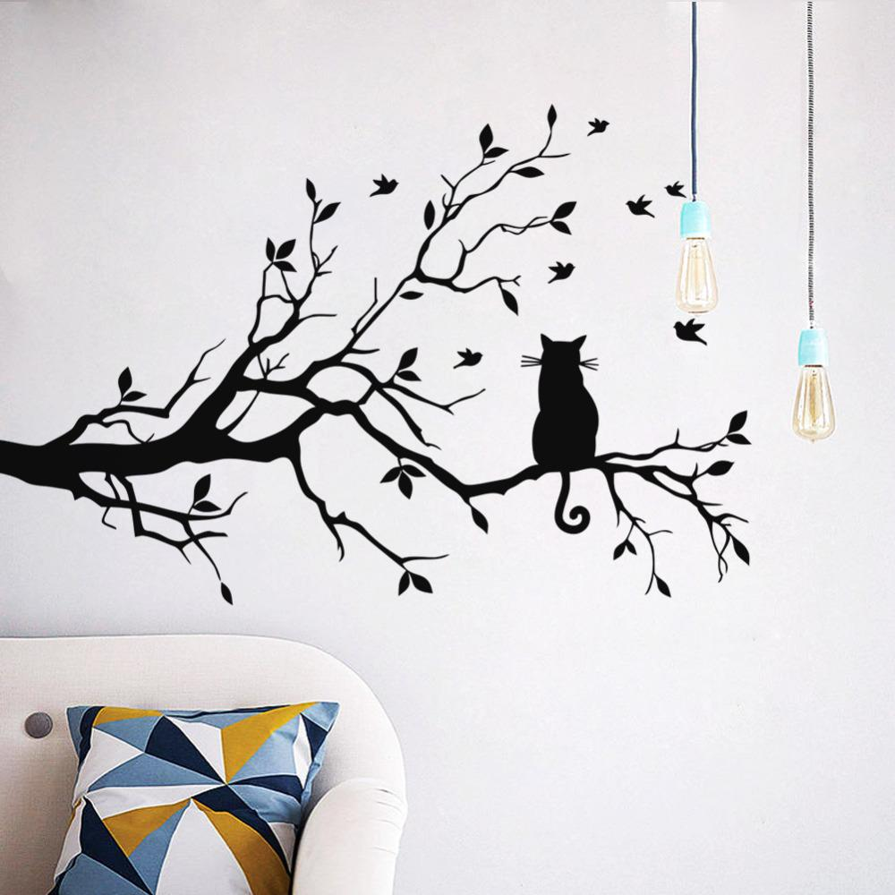 Cat on tree branch birds wall sticker tree vinyl wall decal adesivi murali glass film window stickers home decoration wall art wall art stickers trees wall
