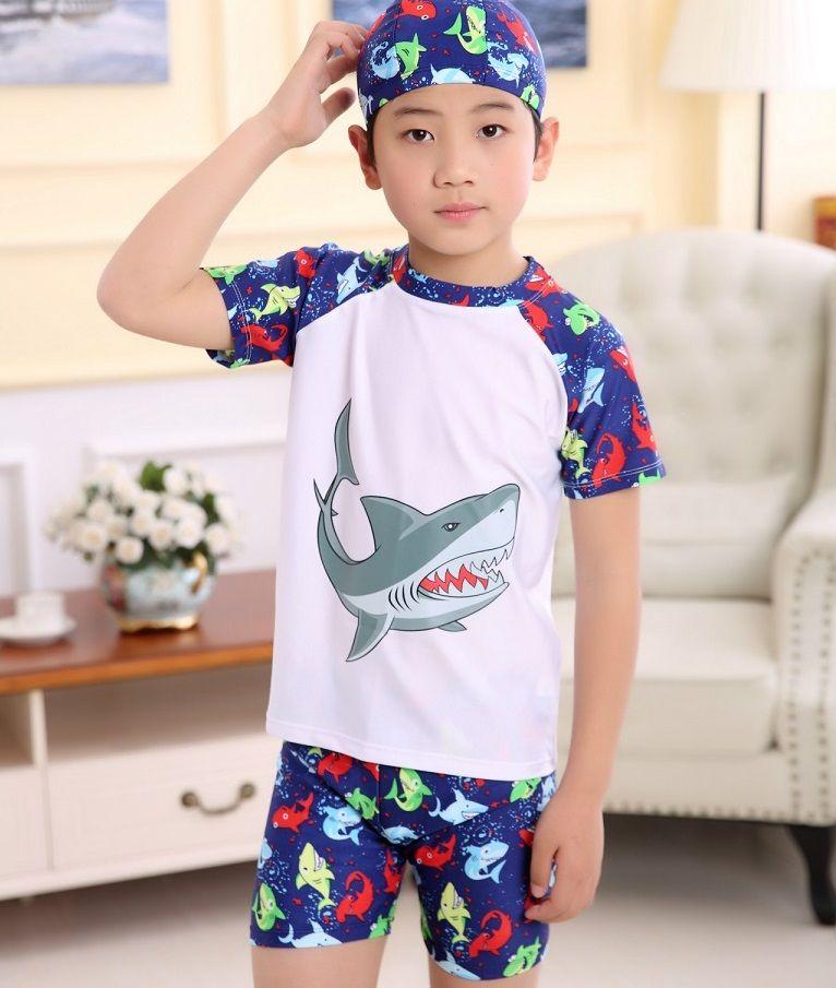 4c558d799f1a1 Swimwear for kids Boys bathing suits swimsuits Shark dinosaur animal Top+ trunks +bathing cap 3pcs set High quality 2017 hotsale