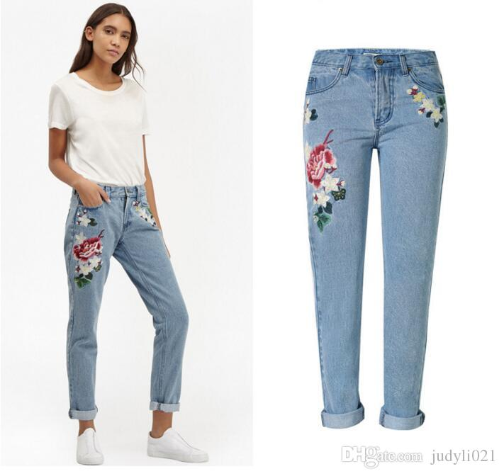 embroidered jeans women size online | women plus size embroidered