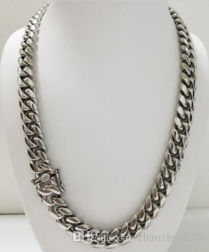 Men Silver Stainless Steel 12mm Box Clasp Miami Cuban Link Chain Necklace