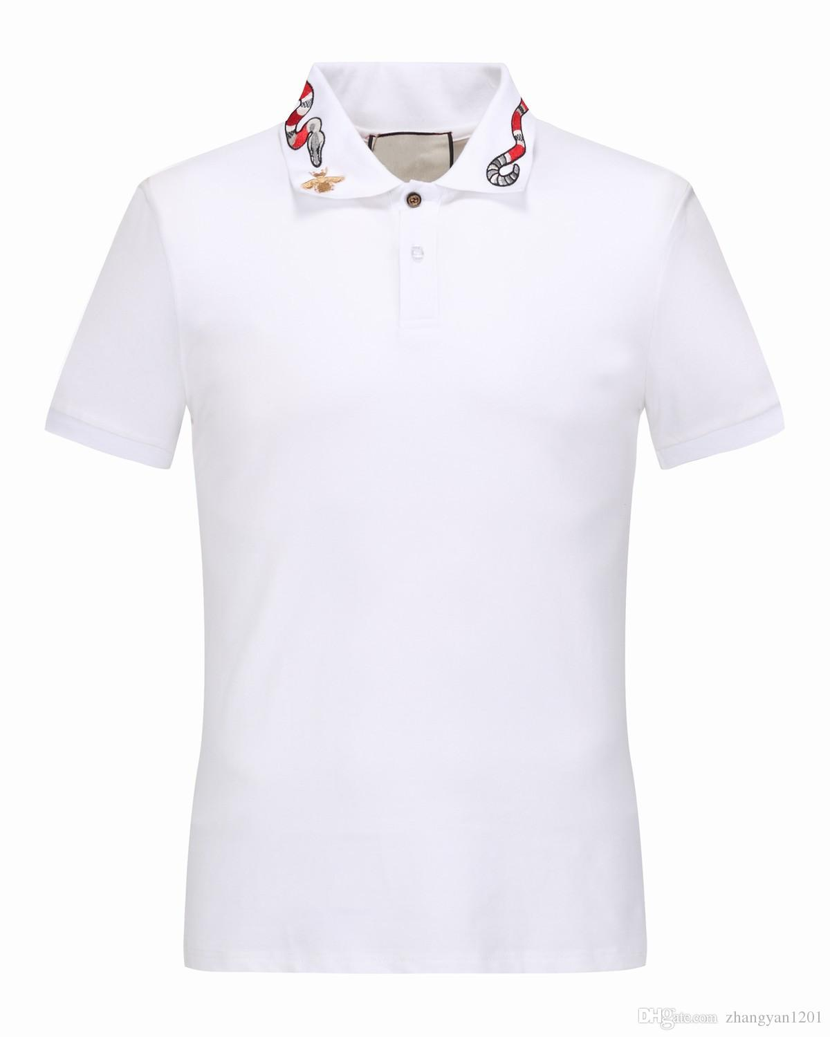 New Mens Luxury Brand Polo Shirt Summer Snake Embroidery Collar
