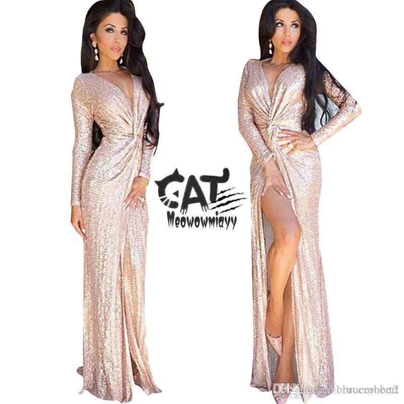 2a354ce19e Dress women 2017 women clothing long sleeve deep v-neck split sequins plus  size women clothing sexy pencil evening party wedding dresses