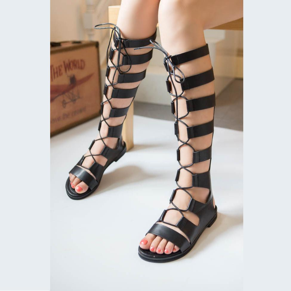 3c7a60f7a2e Wholesale-Gladiator Sandals Woman Knee High Sandalias Botas ...