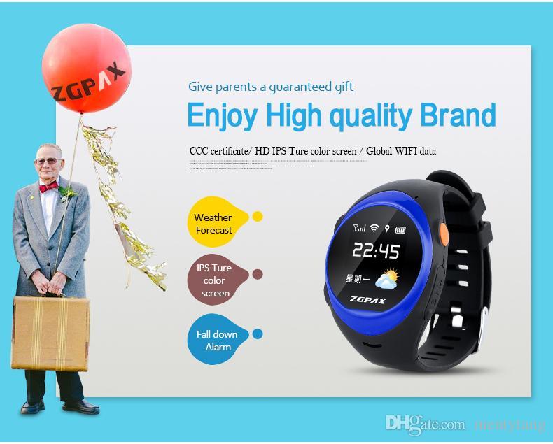 ZGPAX S888 Bluetooth Reloj inteligente a prueba de agua Niños Elder SOS Seguimiento GPS Smartwatch Alarma anti-perdida iOS Teléfono Android para el regalo del niño viejo