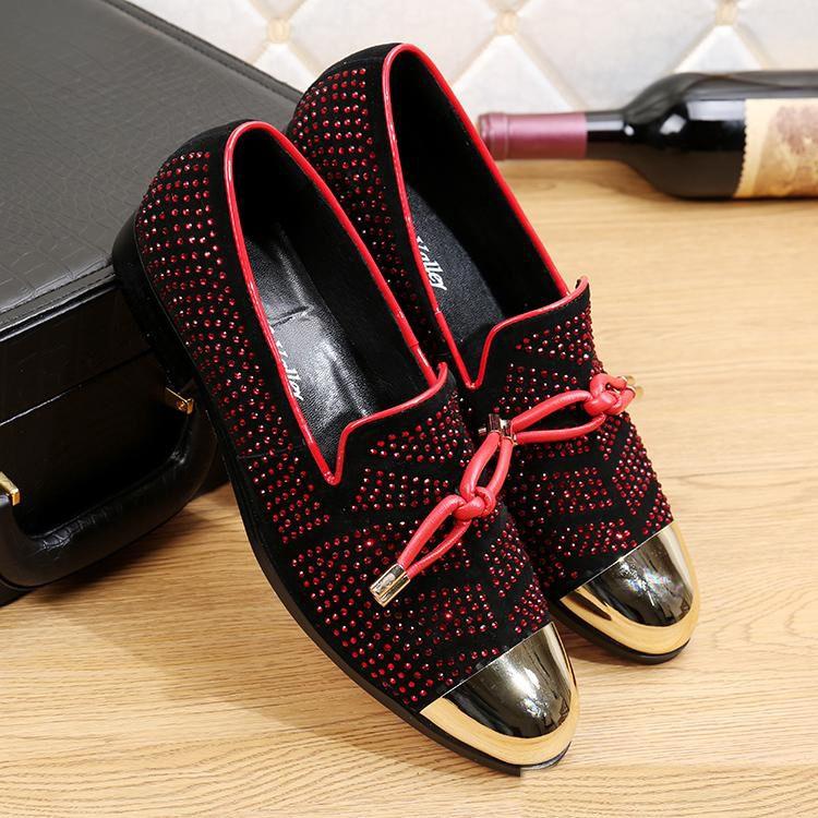 Echtes Leder Herren Schuhe Gold-Toes neue Art und Weise Creepers Slip-on beiläufige Loafers Strass Männer Flats Hot Zapatillas Hombre
