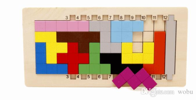 Colorful Wooden Tangram Tetris Game Brain Teaser Puzzle Toys Preschool Imagination Educational Toy Thinking of the Game Puzzle