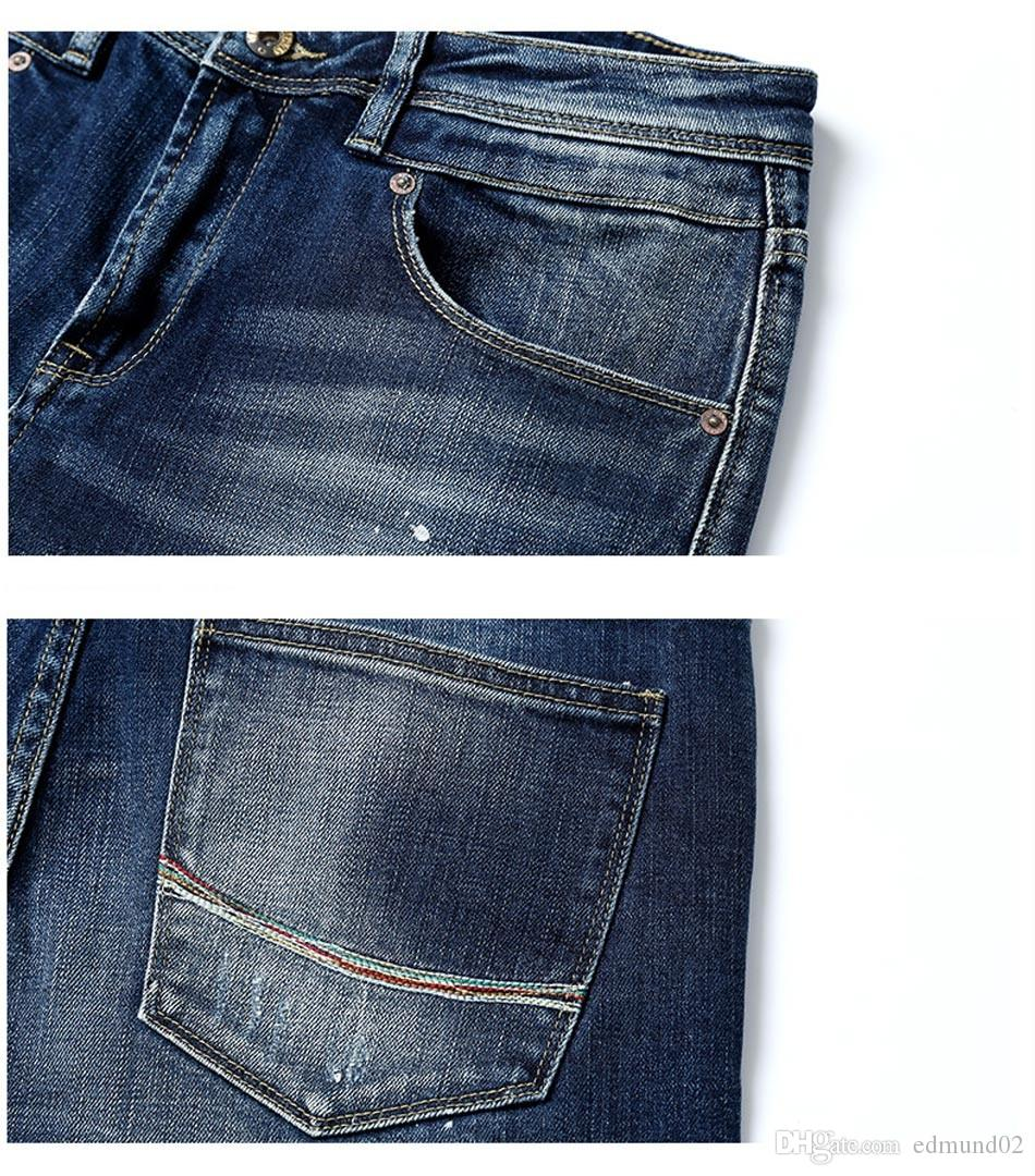 Wholesale-Jeans Men New Arrival SIMWOOD Brand Clothing Blue Slim Fit Casual Denim Pants High Quality