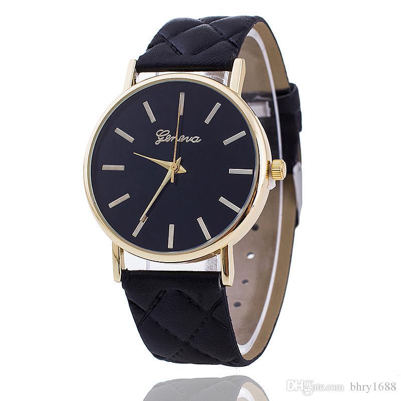 6fbed190f43d Compre Nuevos Relojes Ginebra Hombres De Lujo Para Mujer Reloj Casual  Relojes De Pulsera De Cuero De La PU Vestido De Moda Reloj De Cuarzo Reloj  De Los ...