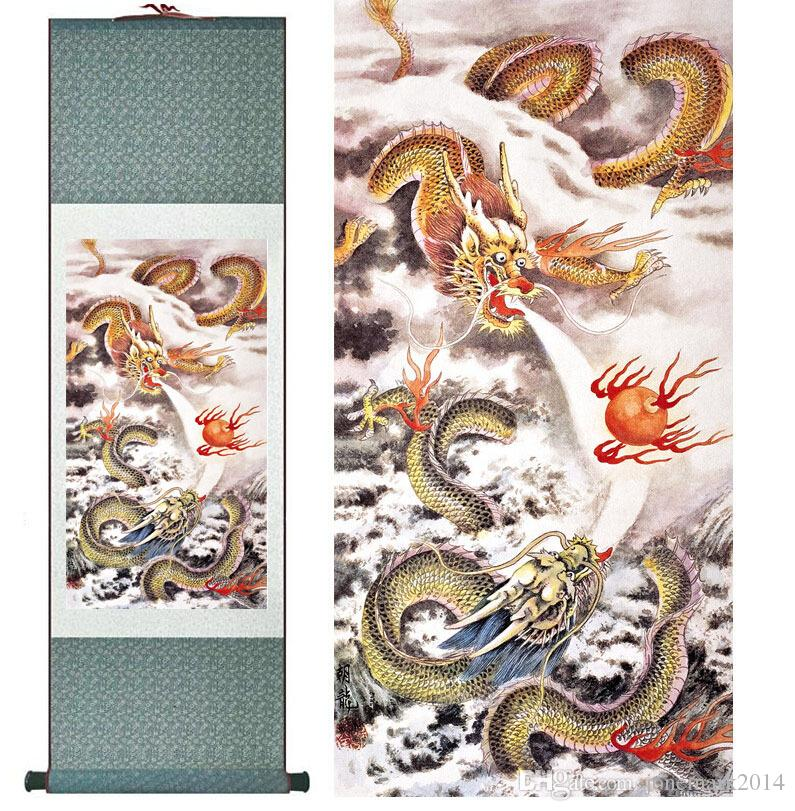 Top qualtiy Dragon painting dragons playing the fire ball Chinese scroll painting dragon Wall Art Scroll Hang Picture