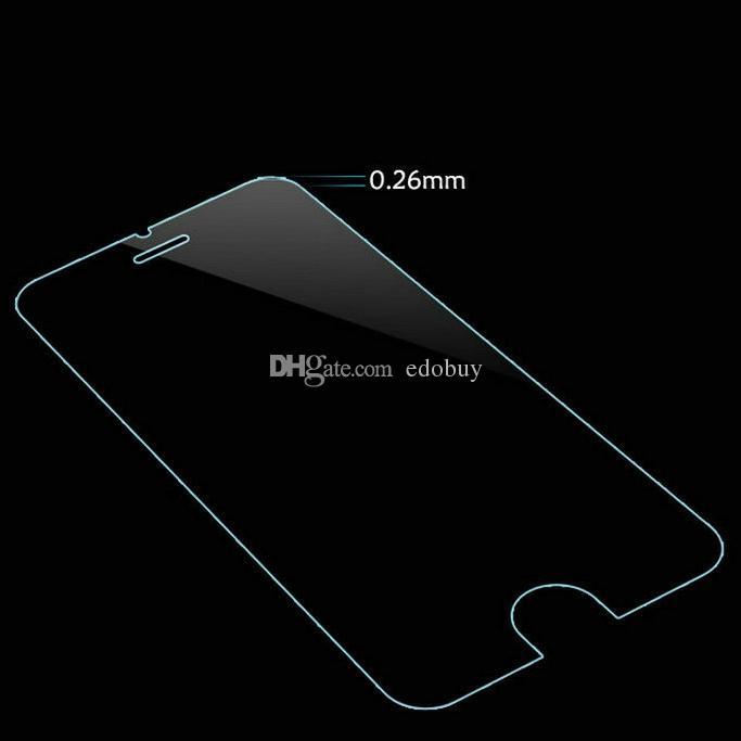 Protecteur d'écran en verre trempé 0.26mm 9H films de protection en verre pour apple iphone 4 4s 5 5s 6 6s 6 plus 7 7 plus en gros