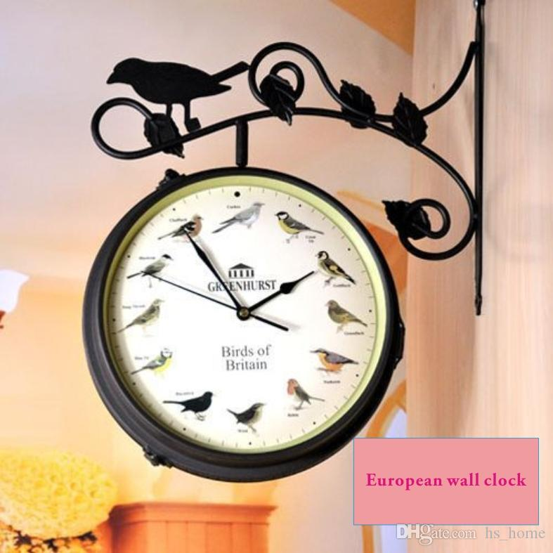 european style flowers and birds double sided wall clock timing and thermometer iron art and home garden decoration musical wall clock musical wall
