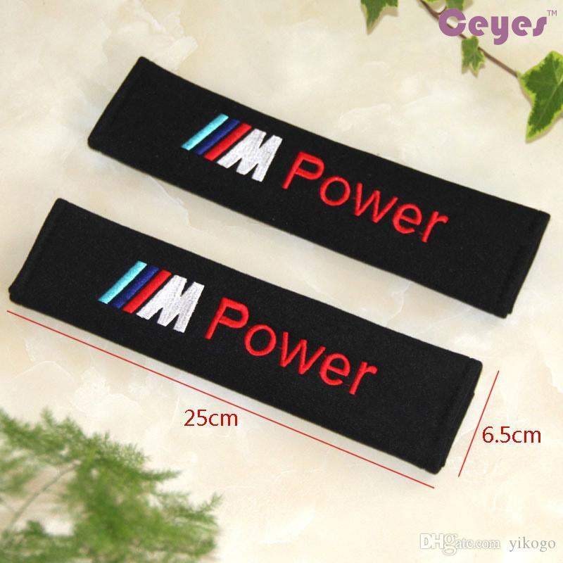 Car Emblems Badge Auto Safety Belt Cover M Power Shoulder Pad for bmw m m3 m5 Car Accessories Styling