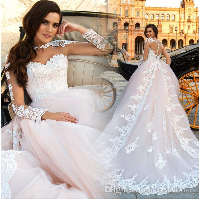 Discount 2017 New Vintage Lace Wedding Dresses Modest Blush Pink ...