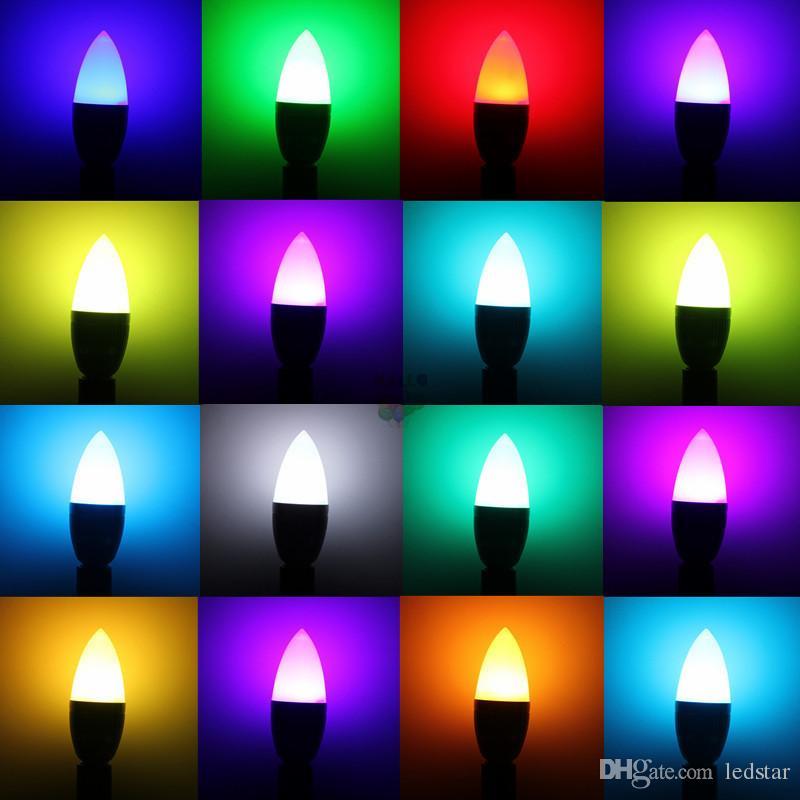 3W RGB LED-Leuchten E12 E14 LED-Kerzenlampe 16 Farben ändern + 24 Tasten IR-Fernbedienung
