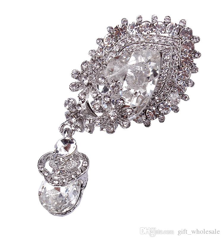 High Quality Silver Plated Large Clear Rhinstone Crystal Water Drop Flower Sparkly Bridal Pin Brooch Wholesale