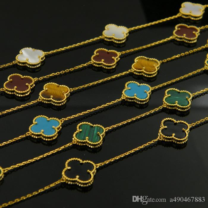 316L Titan Stahl vergoldet Weiß Achat Black Onyx Blume Liebe Halskette Gold Fine Natural rot Achat Schmuck für Frauen