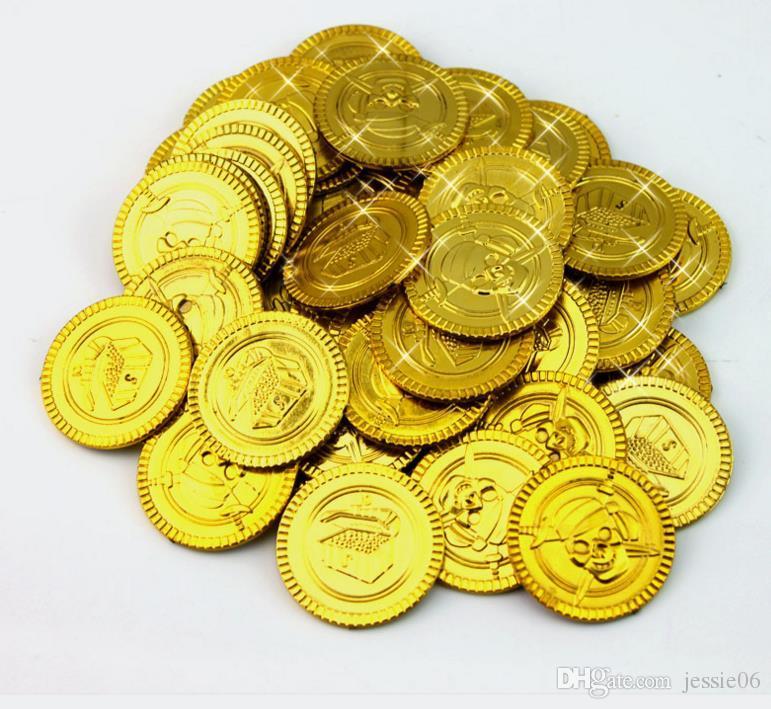 Plastikgoldpiratenmünzengeburtstag Weihnachtsfeiertagsbevorzugungsschatzmünze goody Parteibeutetasche pinata Füllerspielzeug favortheme Dekorationsgeschenk