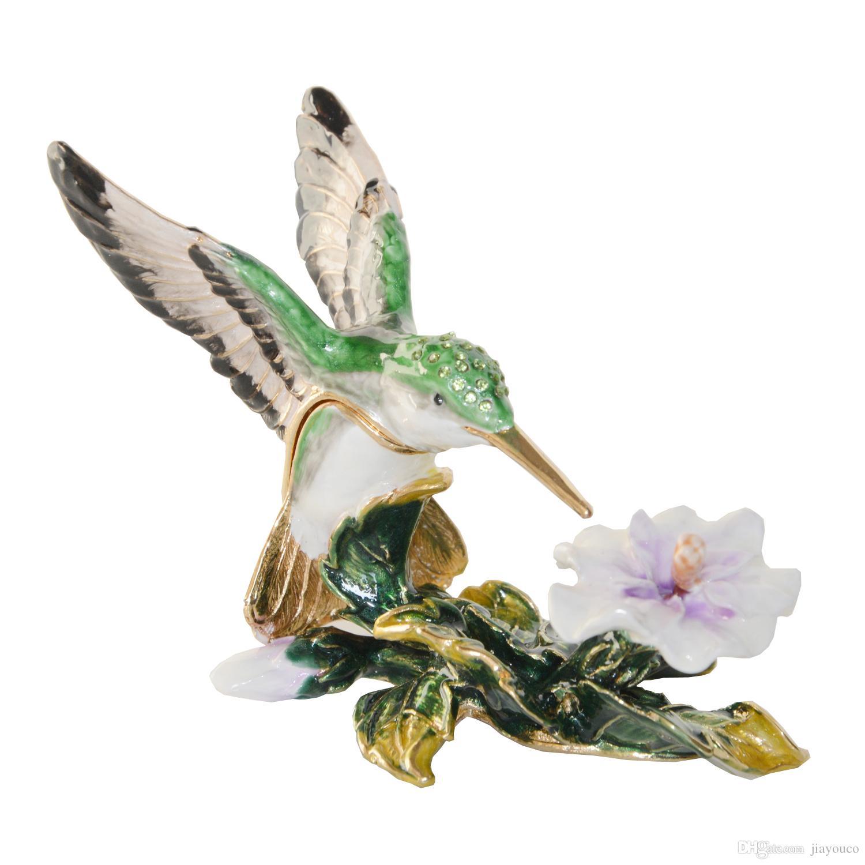 Hummingbird Crystal Bejeweled Trinket Jewelry Earring Box Vintage ...