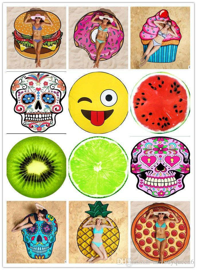 Wholesale New Cilected Donut Round Beach Towel Summer Beach Bath