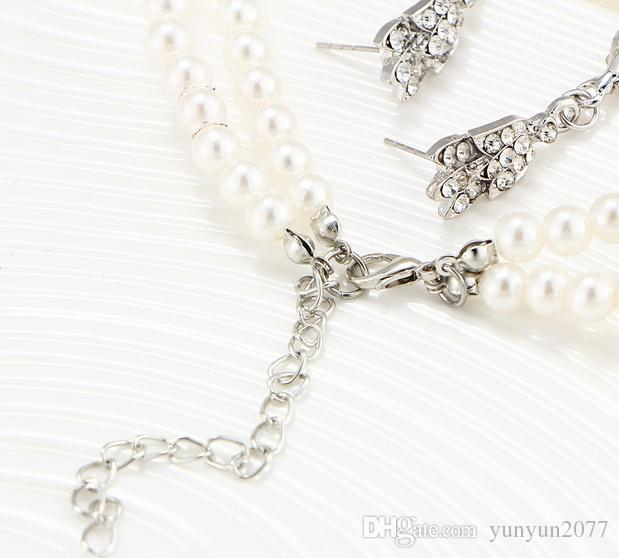 Fine Accessories Jewelry sets Pearls Rhinestones Bridal Wedding Chokers Chains Necklaces Imperial Crown Water Drop Dangle Earrings For Women