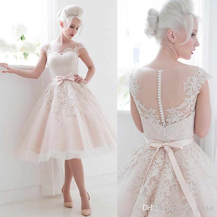 Großhandel Hochwertige Vintage Blush Pink Short Brautkleid Eine ...