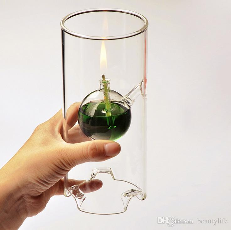 أزياء سوبر الجمال الإبداعي الزجاج الشفاف اسطوانة مصباح لوتس ليف خصائص هدية الزفاف بدلا من شمعدان القطر