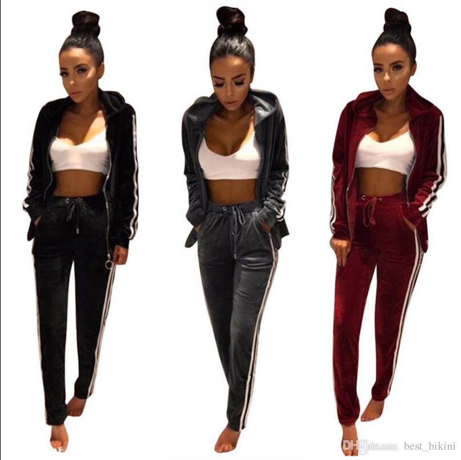 Women Velvet Tracksuit Hoodie Sweatshirt Pants Sets Sportwear Button Casual  Suit Jogging Gym Sport Suit OOA3102 UK 2019 From Best bikini 02f485bfc5