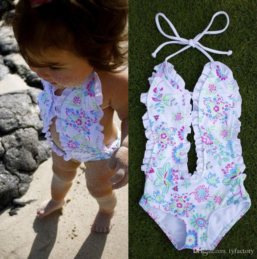 8c9cf7ce56818 2019 2017 Fashion Girls Baby Clothing Bikini White Floral Split One Pieces Swimsuit  Bathing Suit Swimming Clothes 1 6T From Tyfactory