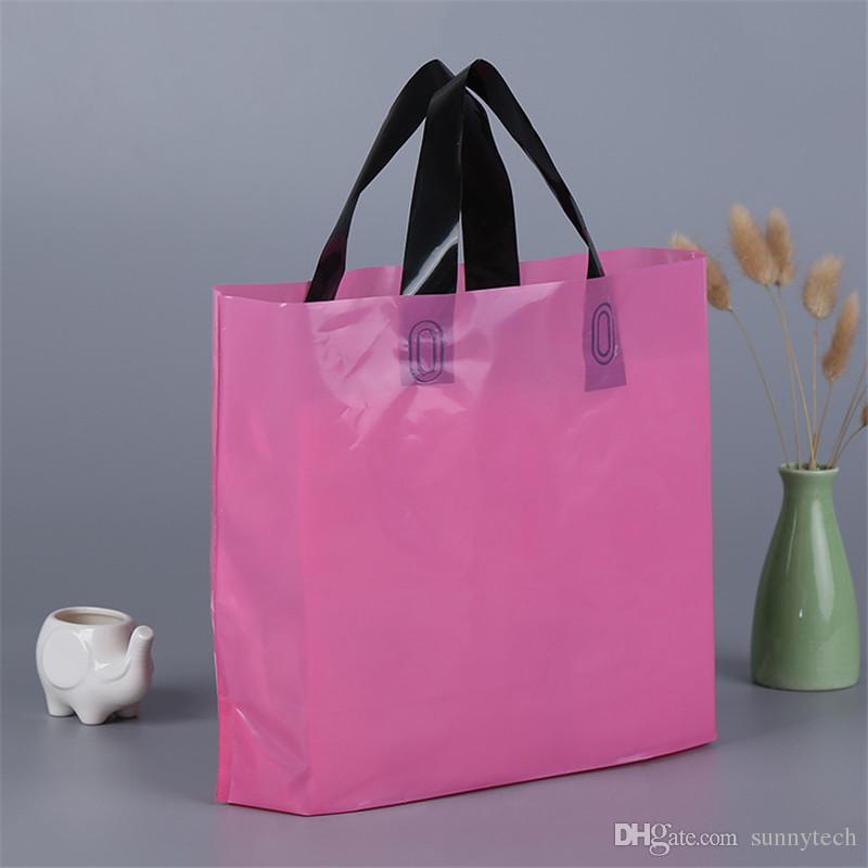 Kundenspezifisches Logo druckte Plastikverpackungseinkaufstaschen mit Griff, kundengebundene Kleidungs- / Kleidungs- / Geschenkverpackungstasche LZ0773