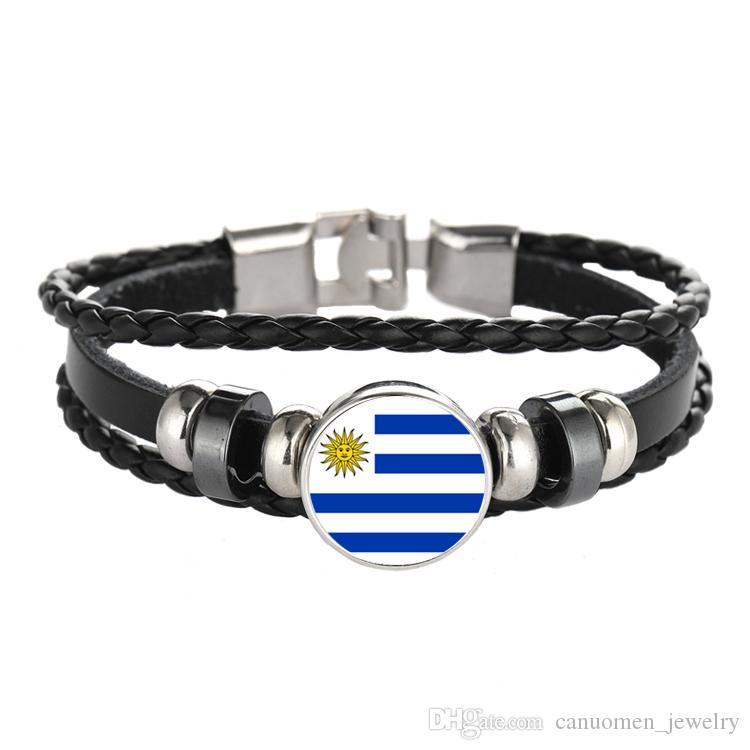 Bracelet en cuir Snap Punk Italie Venezuela Drapeau Uruguay Cabochon En Verre Charme Bracelets Femmes et Hommes Bijoux En Gros