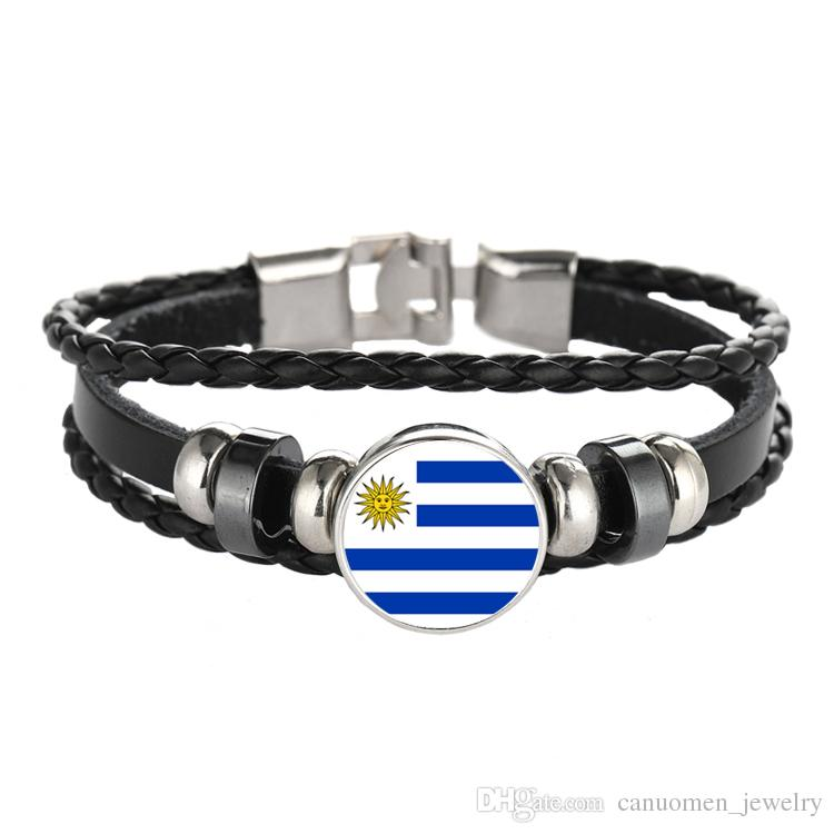 Leather Bracelet Snap Punk Italy Venezuela Uruguay Flag Glass Cabochon Charm Bracelets Women and Men Jewelry Wholesale
