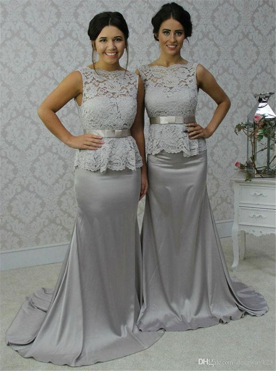 Elegant Scalloped-Edge Sweep Train Sheath Silver Bridesmaid Dress Lace Top with Bow Sash Customized Made Party Formal Dresses