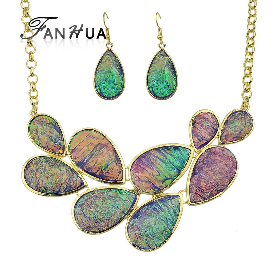 FANHUA Top Selling Jewelry Set Colorful Acrylic Water Drop Choker Statement Necklace Collier Femme and Drop Earrings