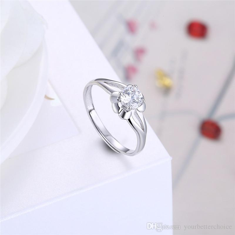 Classical Lady's Adjustable Open 925 Sterling Silver Prong Setting Sparkling Clear CZ Solitaire Ring