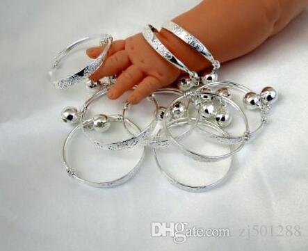 Wholesale Fashion Vintage Silver Baby jingling kid Bell Bracelet Good Luck Charms Bangle DIY For children Jewelry Accessories P1262