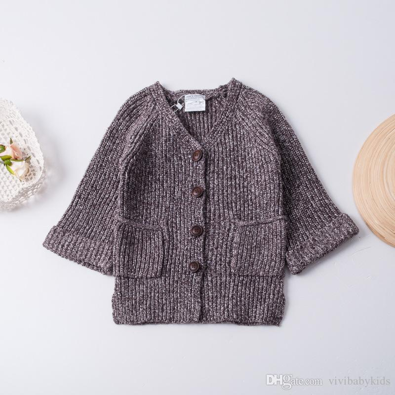 Children Knitting Cardigan 2017 New Autumn Girls Double Pockets ...
