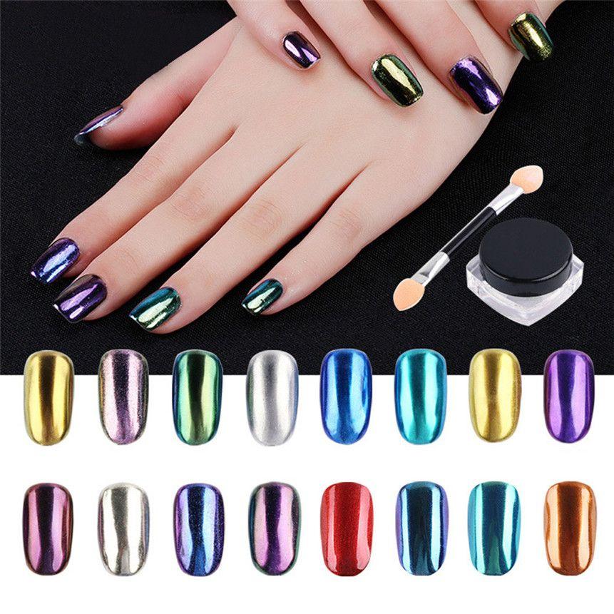 Assez Acheter 16 Couleur Nail Glitter 1g / Pièce Miroir Magique Chrome  BW01