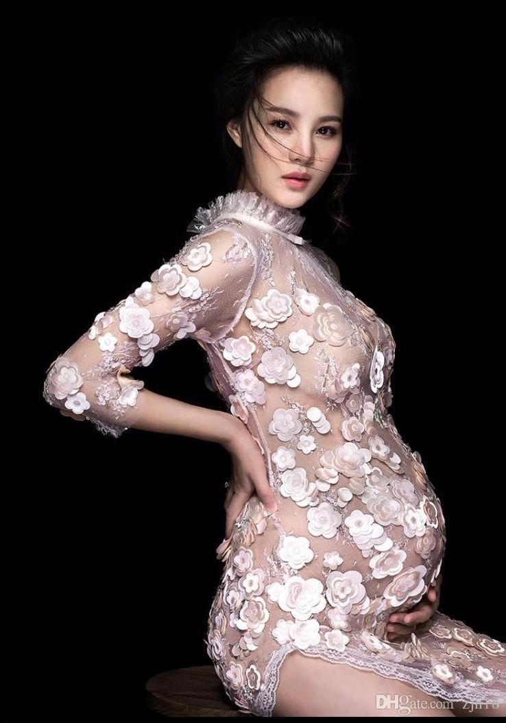 2019 New Style Pregnancy Maternity Photo Shoot Long Dress