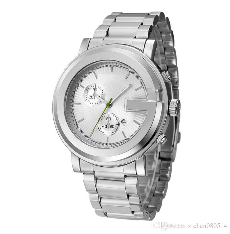 Fashion Brand Men's Big dial style stainless steel band quartz wrist watch GU01