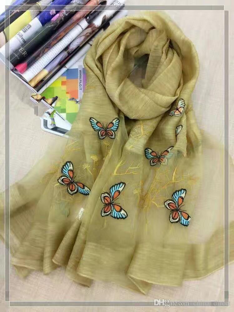 2017 neue silk wolle schmetterling Stickerei Schal Schal Wrap 6 farben gemischt 5 teile / los # 4017